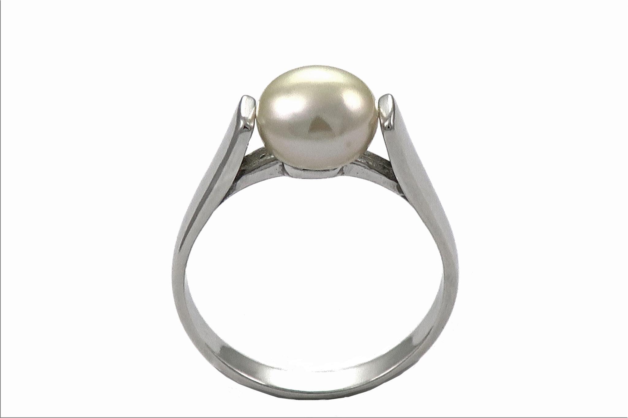 efaf38dfd Ref. 11394 Anillo plata rodiada+ perla cultivada boton 8 m/m ...
