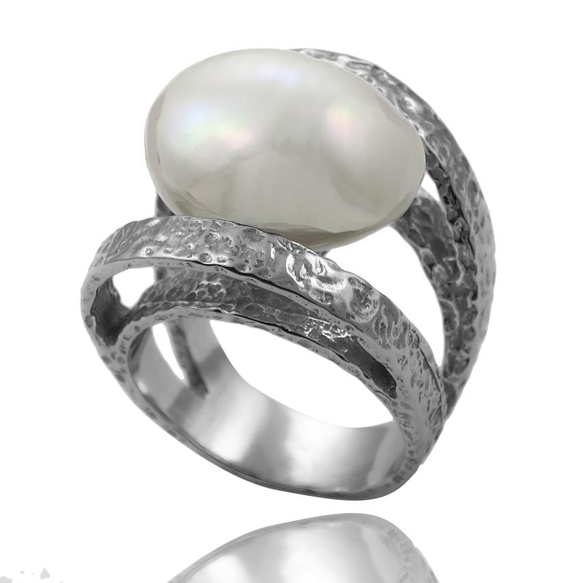 80232a7cc6ea Ref. 11431 Anillo plata envejecida+perla cultivada barroca 13-14 m m ...