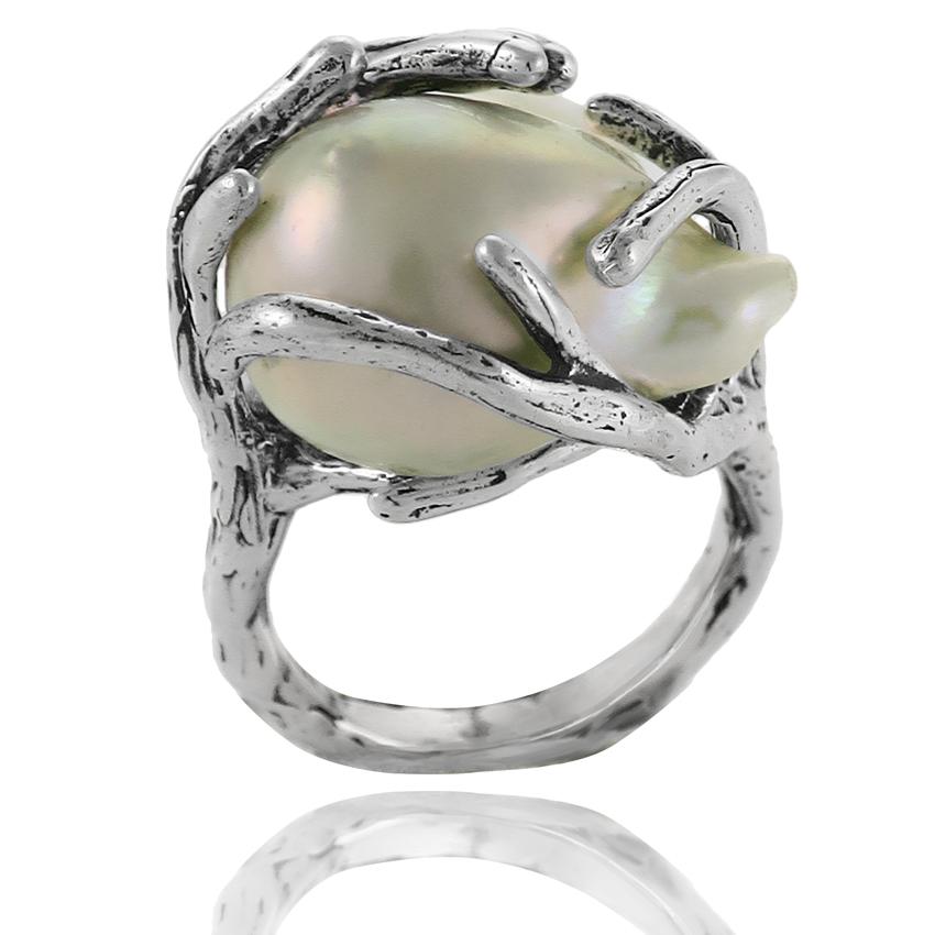 2a3b87434 Ref. 11478 Anillo plata envejecida + perla cultivada barroca ...