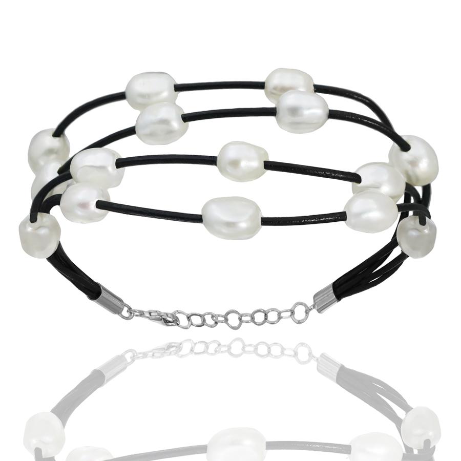 68449f2cbc30 441014 pulsera cuero 4 vias+cierre plata rodiada+perlas cultivadas barrocas